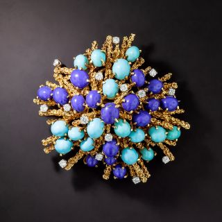 Lapis, Turquoise, and Diamond Brooch - 1