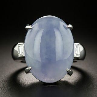 Large 18.58 Carat Natural Burmese Lavender Jade and Diamond Ring - 2