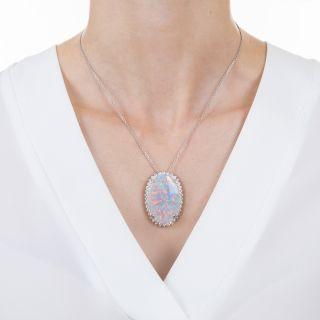 Large 19.90 Carat Opal and Diamond Pendant Necklace