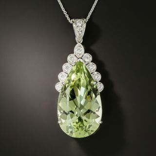 Large 31.15 Carat Green Beryl and Diamond Pendant Necklace - 2