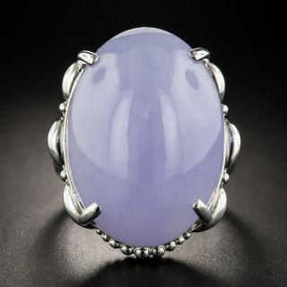 Large 42.97 Carat Lavender Jade Cabochon Ring - 1