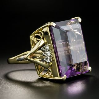 Large Amethyst and Diamond Cocktail Ring