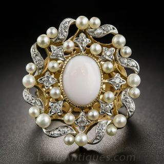 Large Angel Skin Coral and Pearl Cocktail Ring - 1