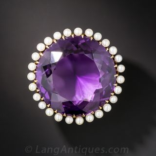 Large Antique Amethyst and Pearl Pin - 2