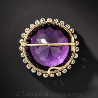 Large Antique Amethyst and Pearl Pin