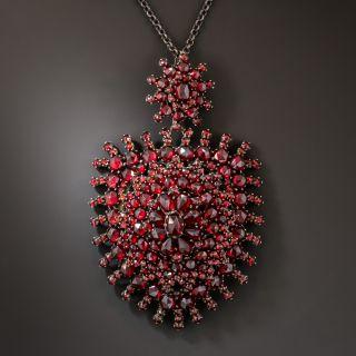 Large Antique Bohemian Garnet Pendant - 2