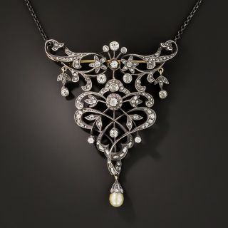 Large Antique Diamond and Natural Pearl Brooch/Necklace - 2