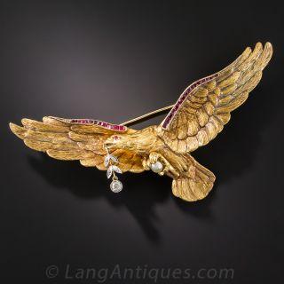 Large Antique Eagle Brooch