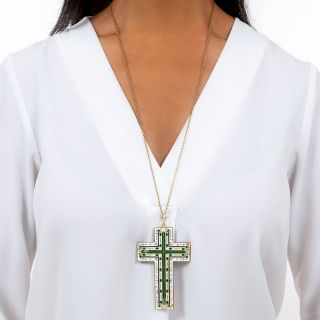 Large Antique Emerald and Enamel Cross