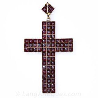 Large Antique Garnet Cross