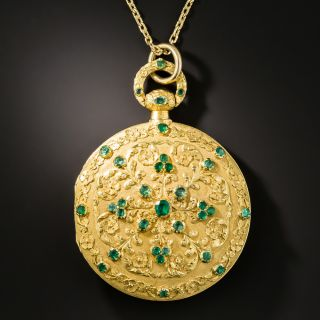 Large Antique Reversible Emerald and Ruby Locket  - 3