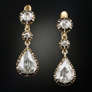 Large Antique Style Rose-Cut Diamond Drop Earrings - 1