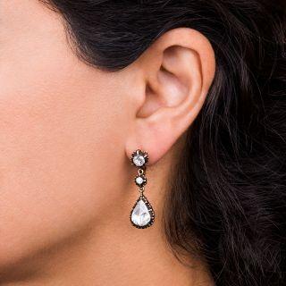 Large Antique Style Rose-Cut Diamond Drop Earrings