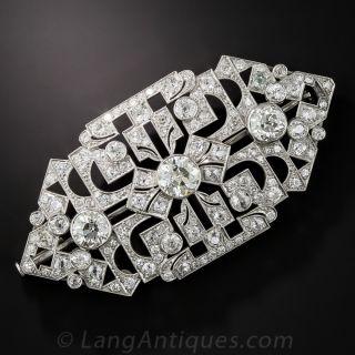 Large Art Deco Diamond and Platinum Brooch - 1