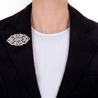 Large Art Deco Diamond and Platinum Brooch