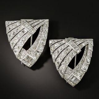 Large Art Deco Diamond Dress Clips - 2
