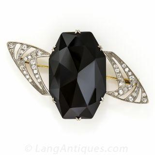 Large Art Deco Onyx and Diamond Brooch - 1