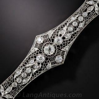 Large Art Deco Platinum and Diamond Bar Brooch