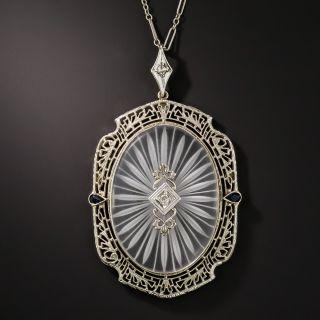 Large Art Deco Rock Crystal Quartz Diamond and Sapphire Pendant Necklace - 4