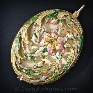 Large Art Nouveau Enamel and Diamond Pendant Locket - 1