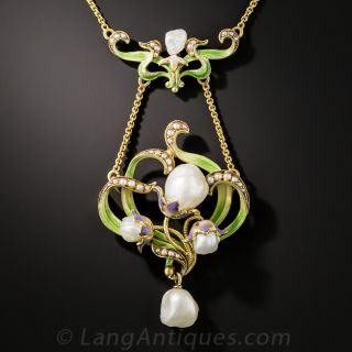 Large Art Nouveau Enamel and Pearl Pendant by Bippart, Griscom & Osborn