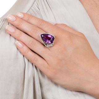 Large Asymmetrical Amethyst and Diamond Ring