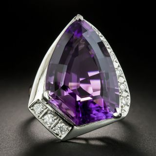 Large Asymmetrical Amethyst Platinum Diamond Ring - 2