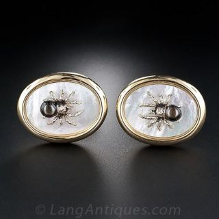 Large Black Star Sapphire and  Mother-of-Pearl Spider Cufflinks