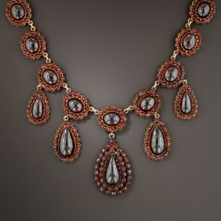 Large Bohemian Style Garnet Necklace - 1