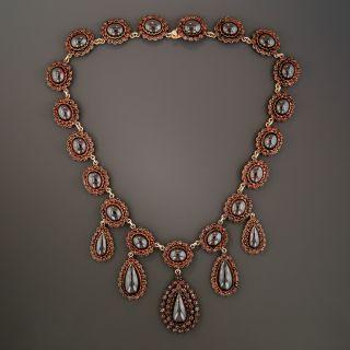 Large Bohemian Style Garnet Necklace