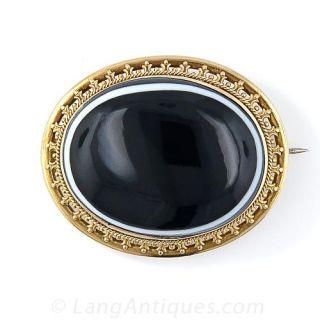 Large Bull's-Eye Agate Victorian Brooch