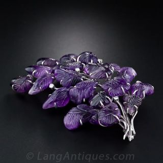 Large Carved Amethyst and Diamond  Brooch