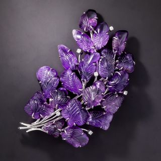 Large Carved Amethyst and Diamond  Brooch - 1