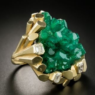 Large Chatham Crystal Emerald Ring by Ruser
