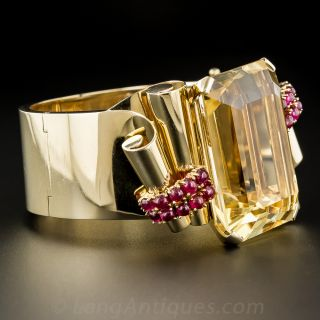 Large Citrine and Ruby Retro Bracelet