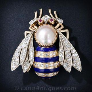 Large Diamond and Enamel Bee Pin - 1