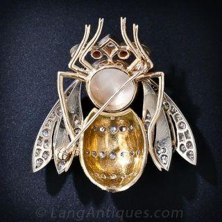 Large Diamond and Enamel Bee Pin