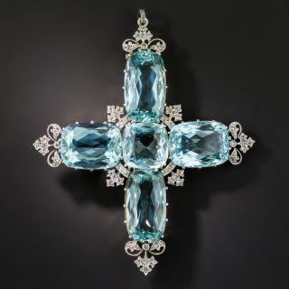 Large Edwardian Aquamarine and Diamond Cross Pendant / Brooch - 2