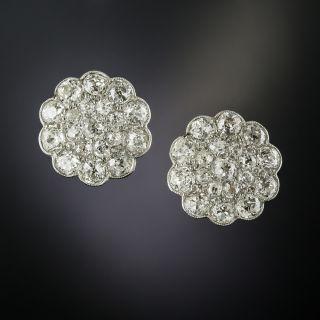 Large Edwardian Diamond Cluster Earrings - 3
