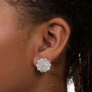 Large Edwardian Diamond Cluster Earrings