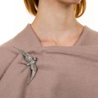 Large Edwardian Diamond Soaring Swallow Brooch