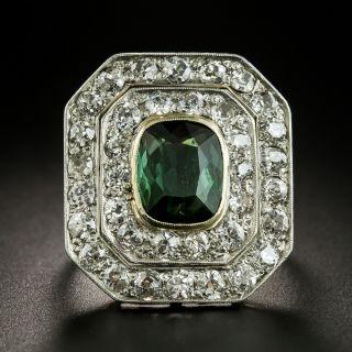 Large Edwardian Green Tourmaline and Diamond Ring - 2