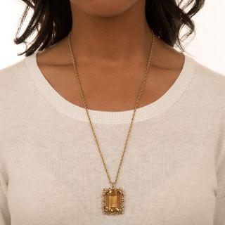 Large Estate 50 Carat Citrine Pendant Necklace