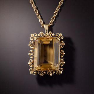 Large Estate 50 Carat Citrine Pendant Necklace - 1