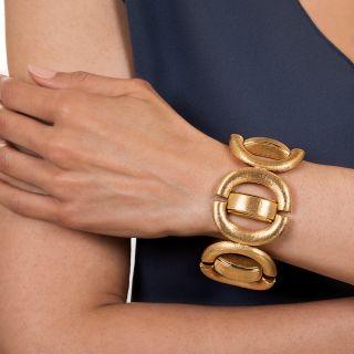 Large Florentined Link Bracelet