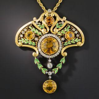 Large French Art Nouveau Citrine and Diamond Lavallière Necklace - 3