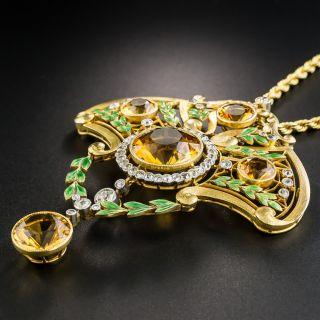 Large French Art Nouveau Citrine and Diamond Lavalière Necklace