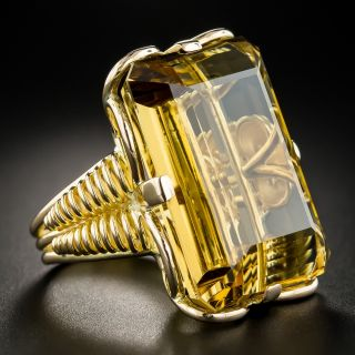 Large French Retro Citrine Ring
