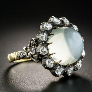 Large Georgian Style Cats-Eye Moonstone Diamond Ring