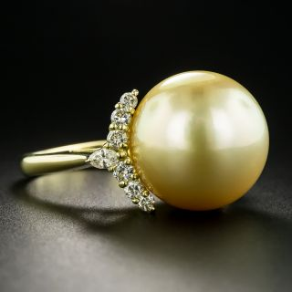 Large Golden South Sea Pearl and Diamond Ring